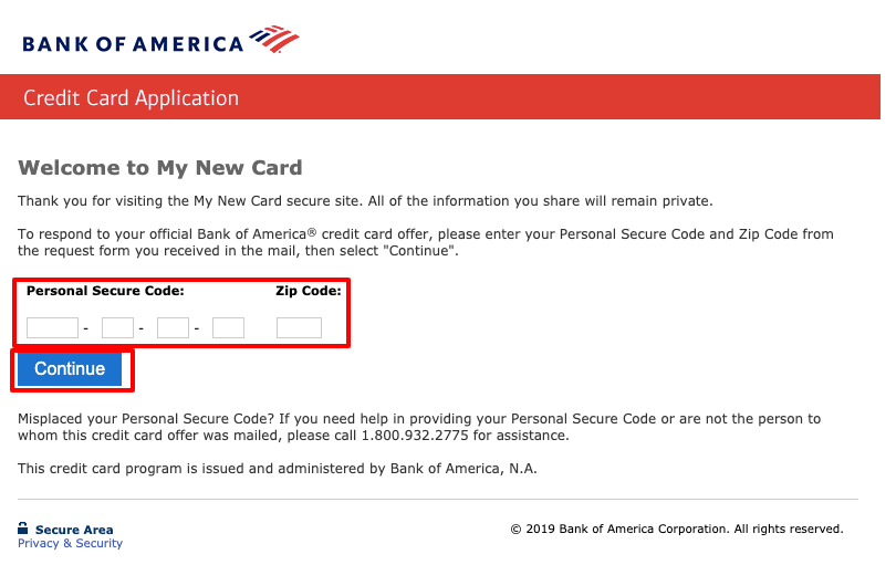 Bank Of America Credit Card Offer