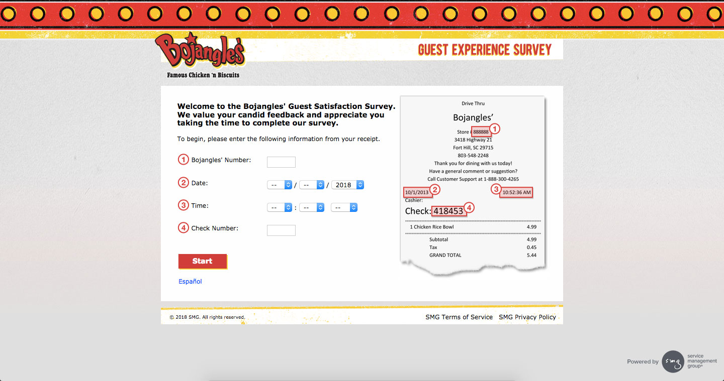 Bojangles Guest Experience Survey