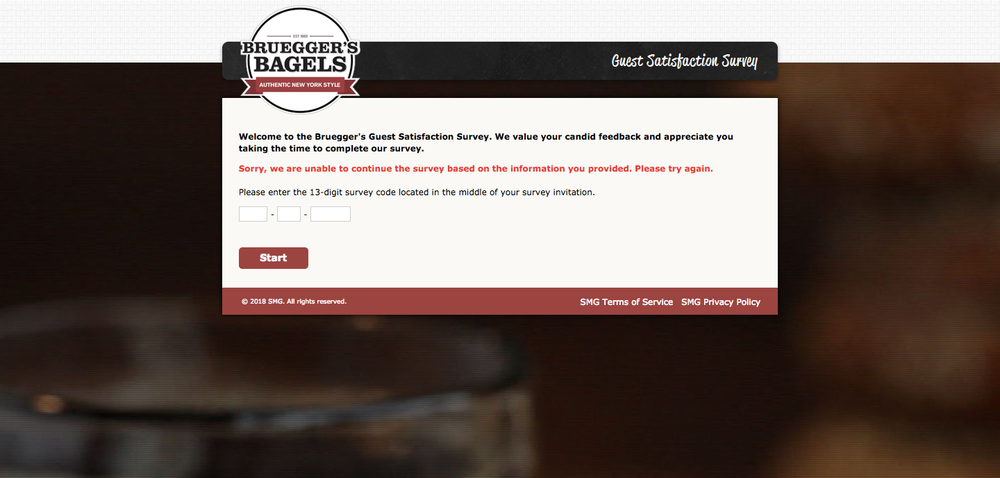 Bruegger's Bagel Guest Satisfaction Survey