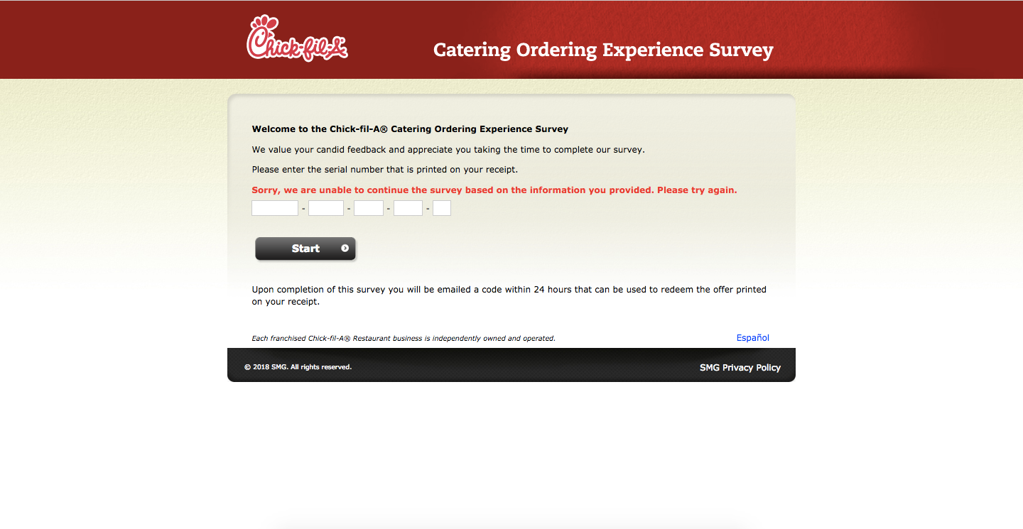 Chick-Fill-A Catering Ordering Experience Survey