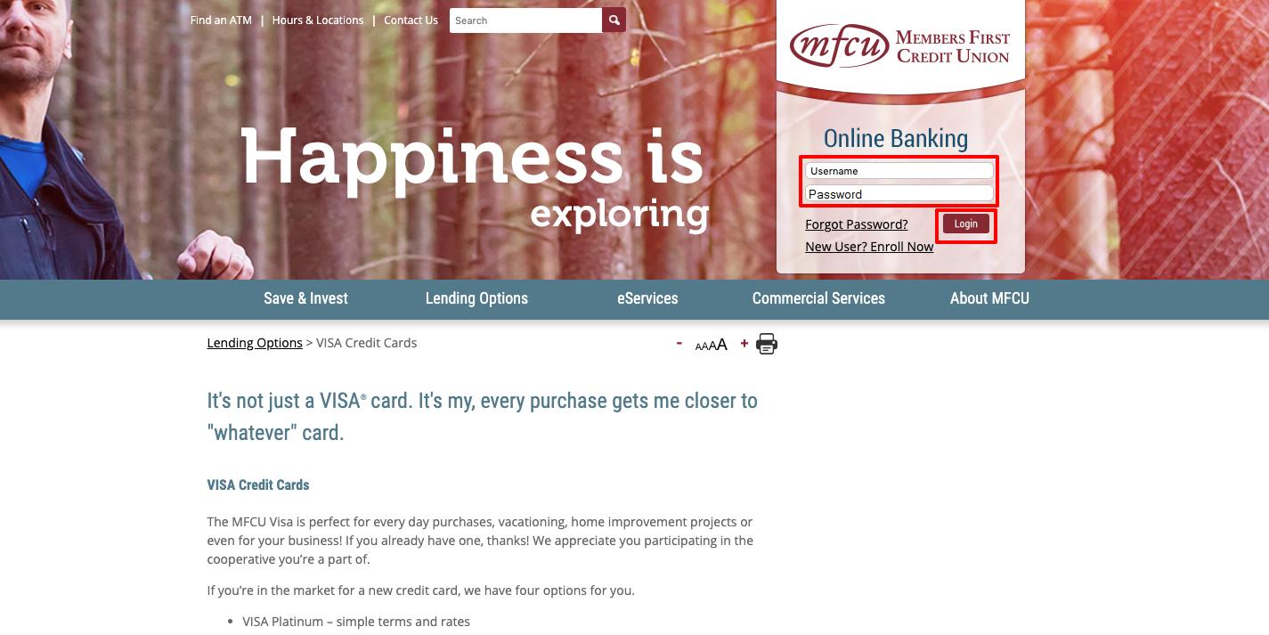 MFCU Visa Card Login