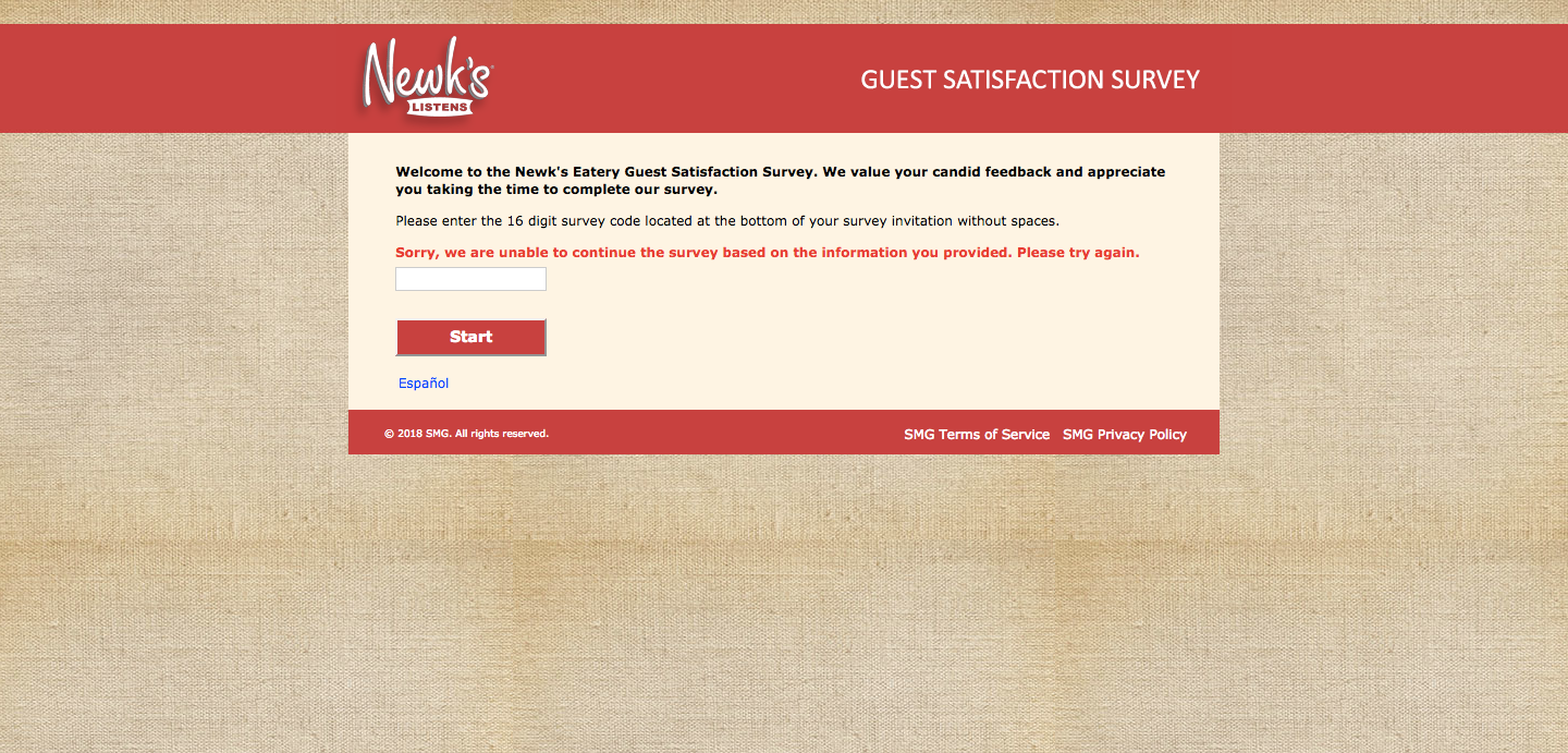 Newk's Eatery Customer Satisfaction Survey