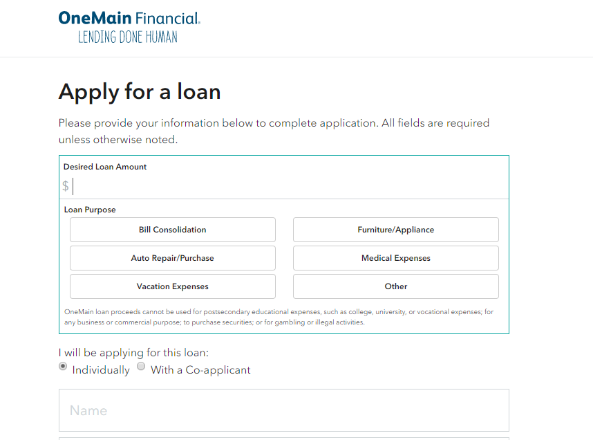 OneMain Financial Personal Loan