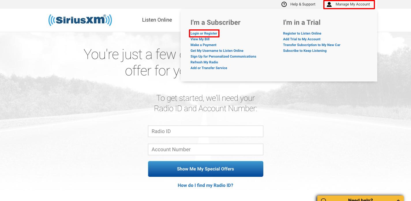 SiriusXM Radio online register