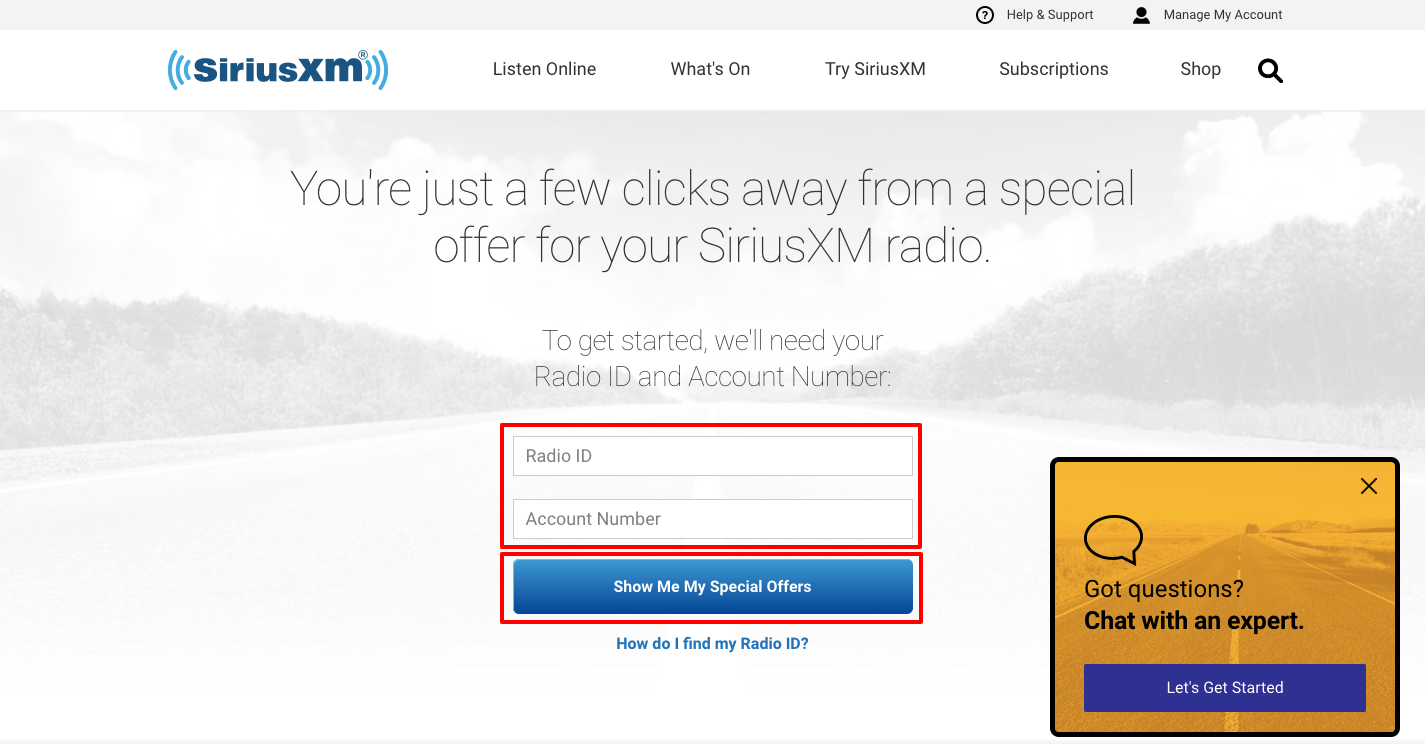 SiriusXM Special Offers