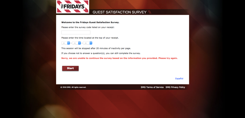 TGI Friday's Guest Satisfaction Survey