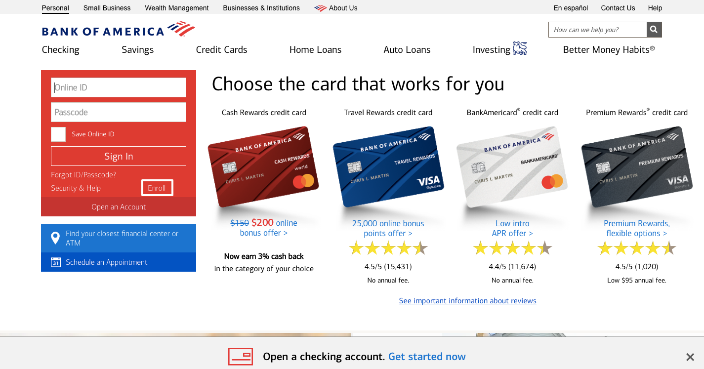 bank of america online account opening