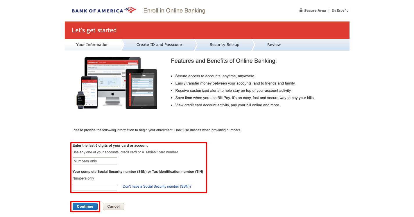 bank of america online account sign up