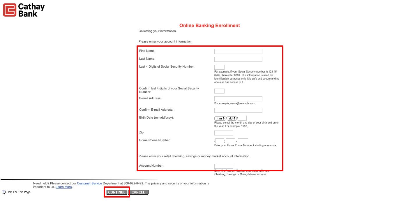 cathay bank online enrollment