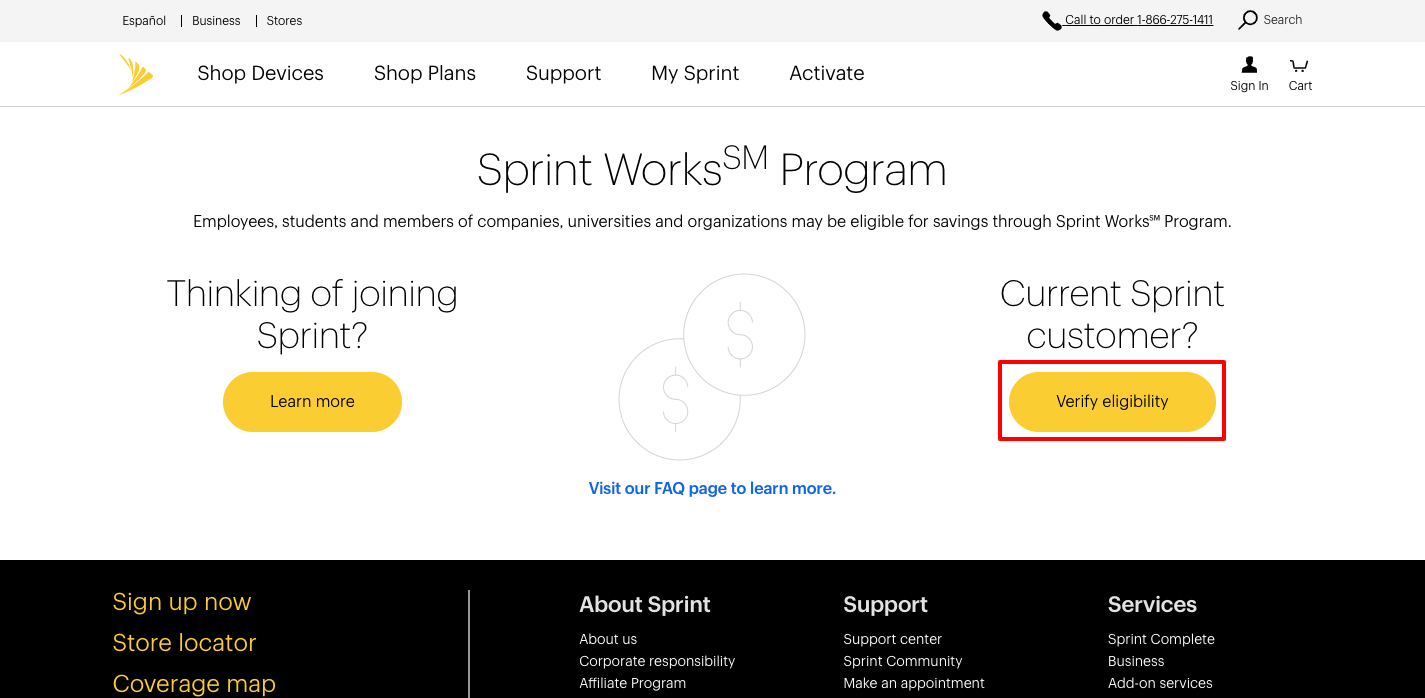 how to activate Sprint Works Program offer