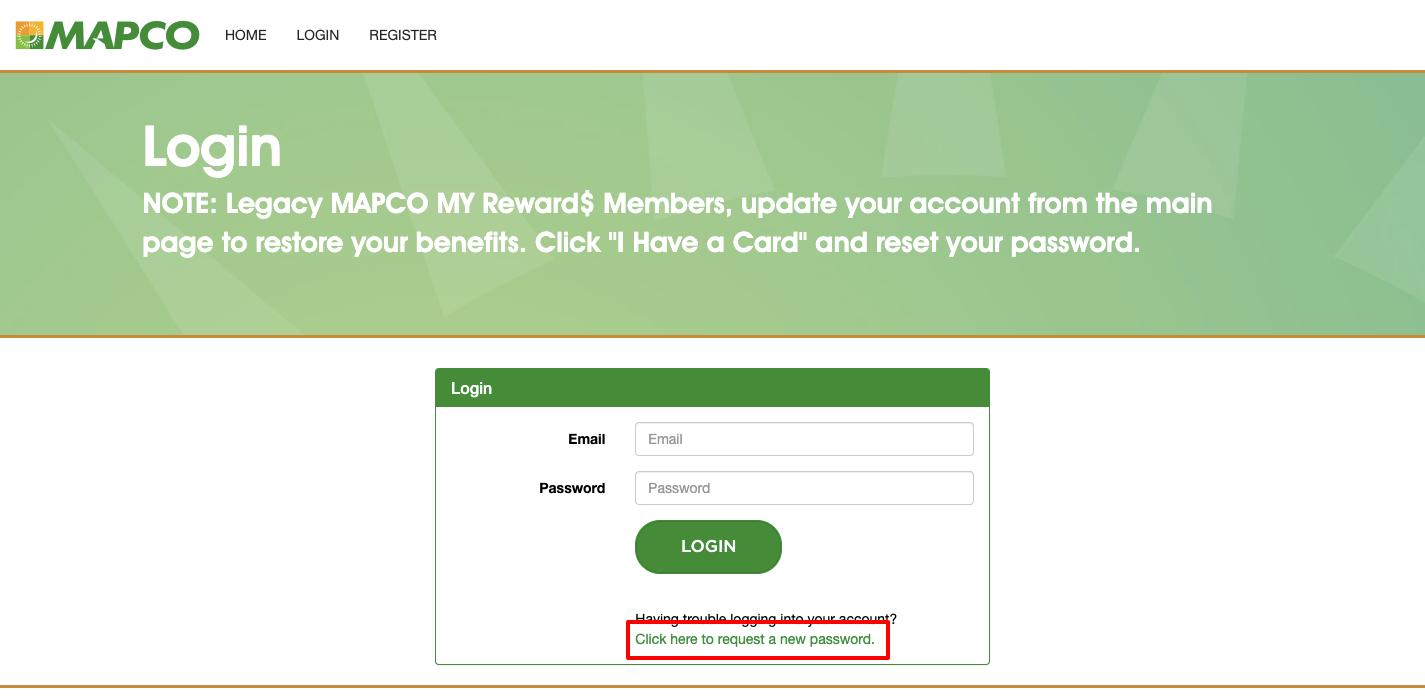mapco forgot password