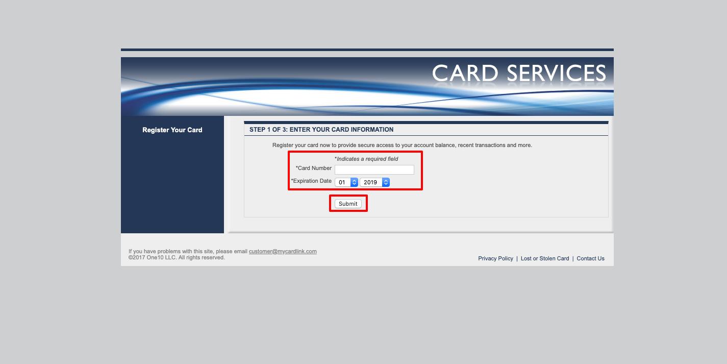 my card link forgot password