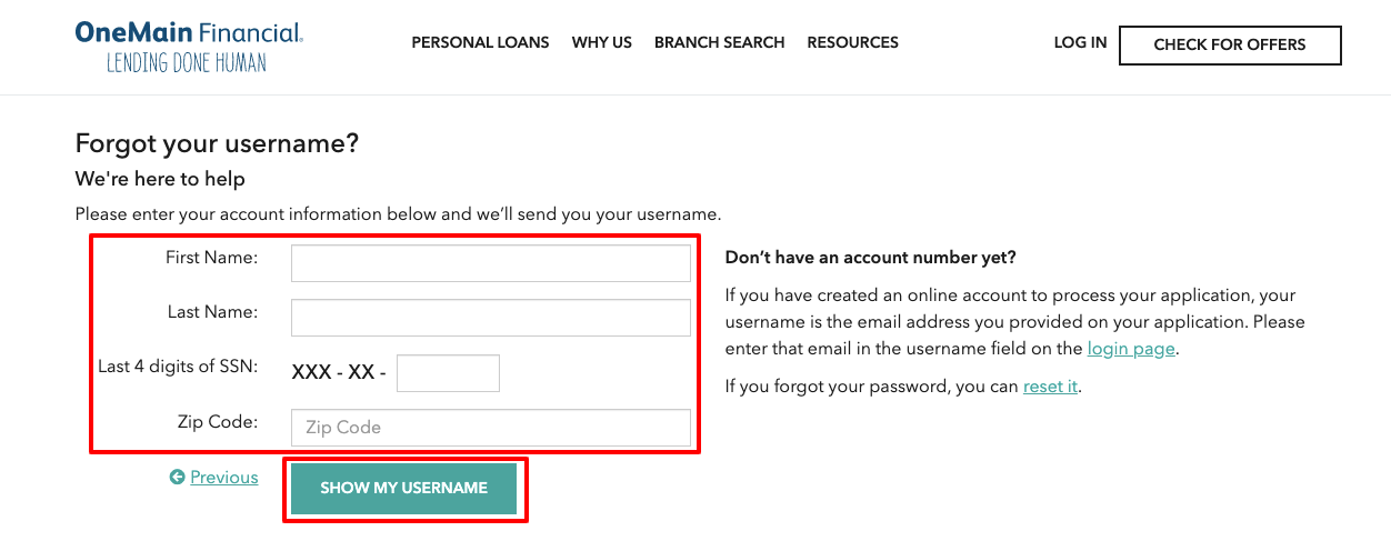 one main financial forgot username