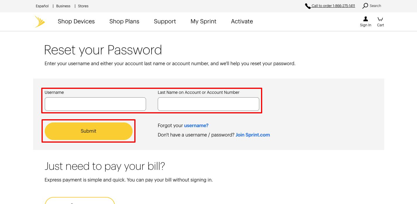 sprint forgot password
