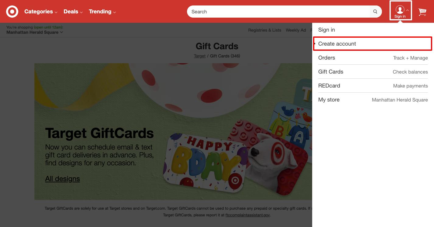 target gift card registration