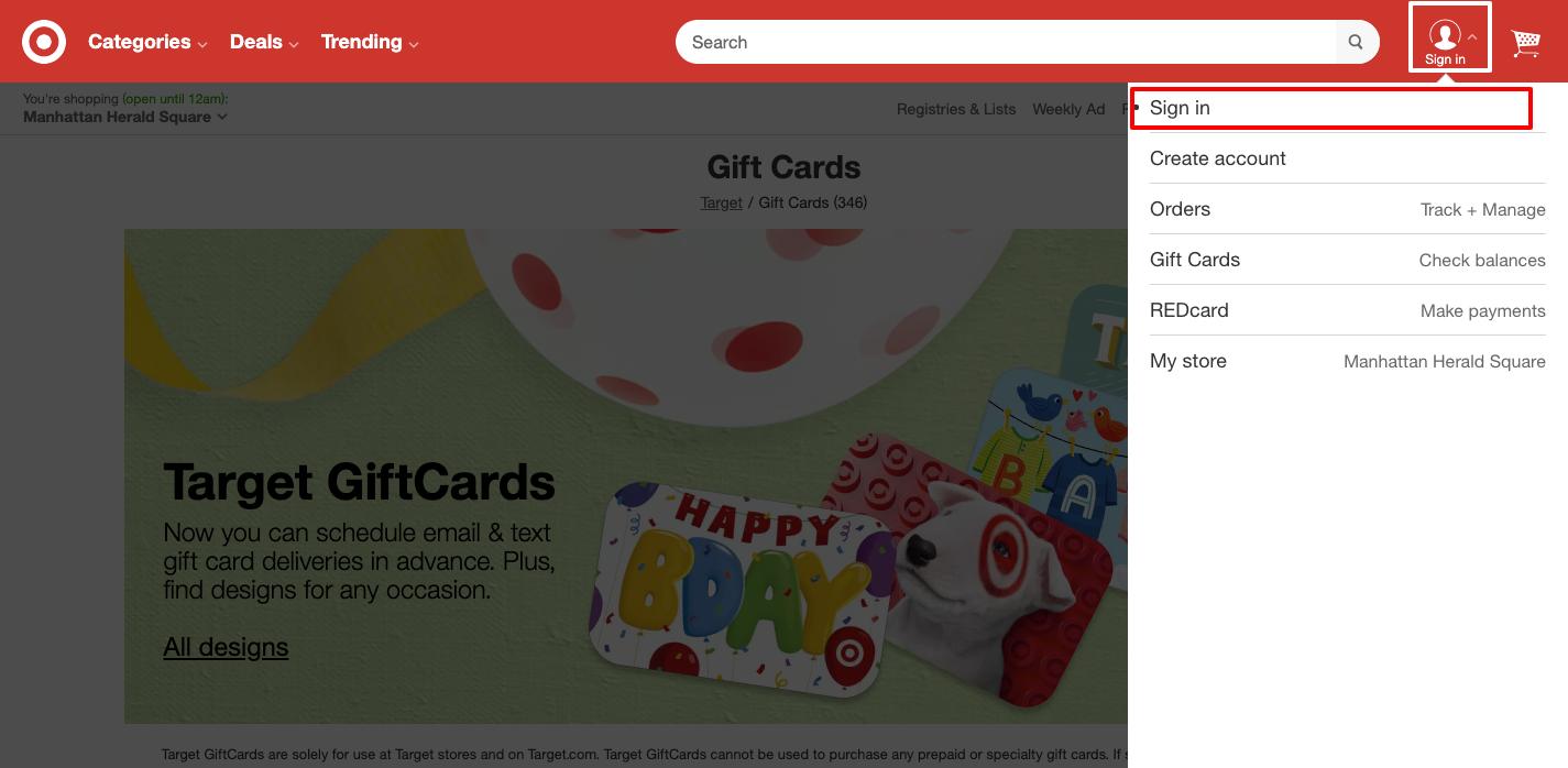 target gift cards online Login