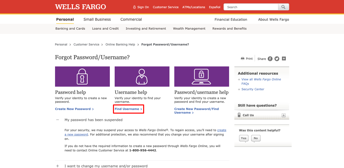 wells fargo create online username