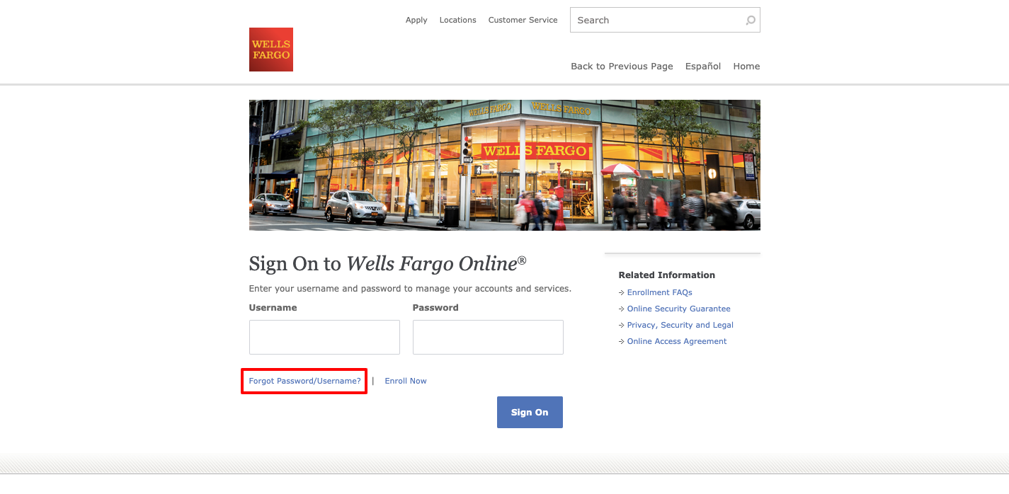 wells fargo online banking forgot username