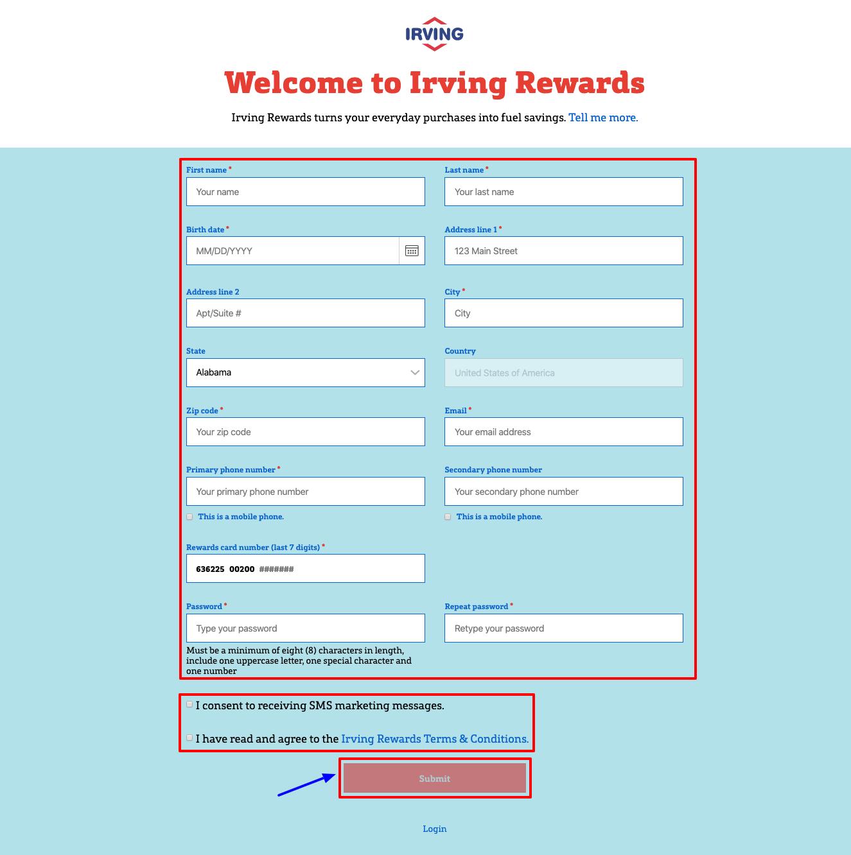 Irving Rewards Register