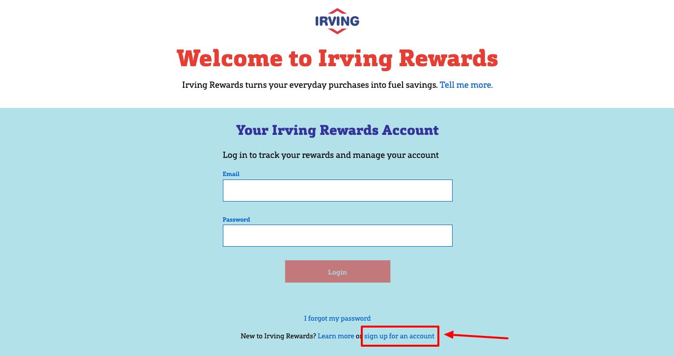 Irving Rewards sign up
