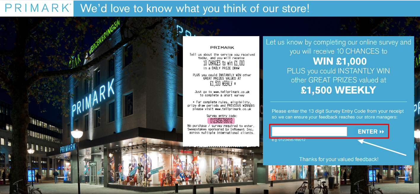 TellPrimark Customer Survey