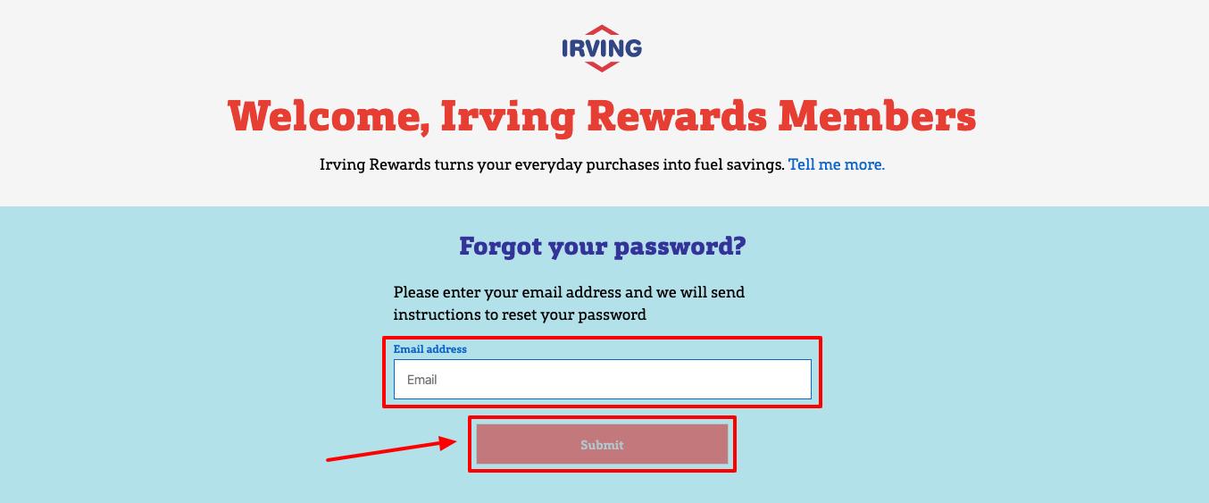 irving rewards forgot password