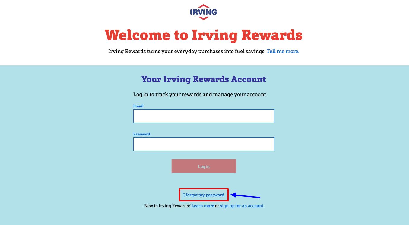 irving rewards sign in