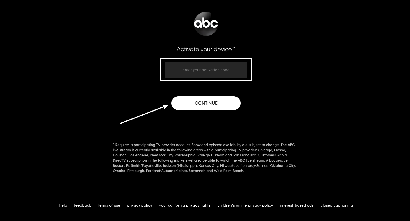 Activation of ABC Live Stream on Device
