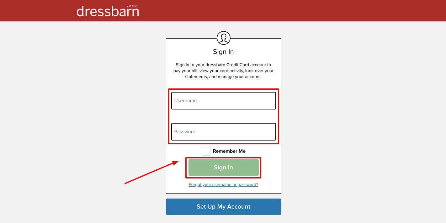 dressbarn credit card login