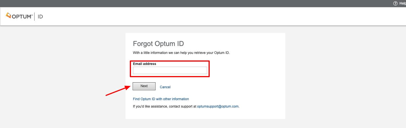 forgot Optum ID