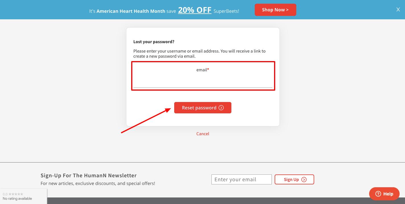 heartgreens reset password