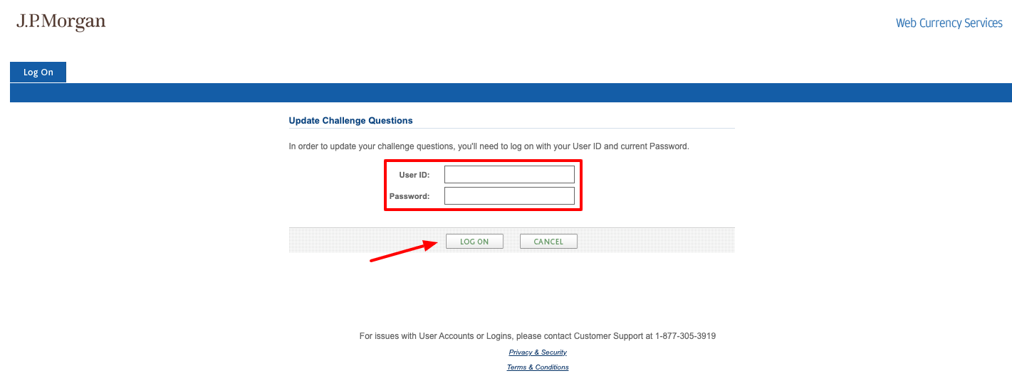 jp morgan chase Update challenge questions