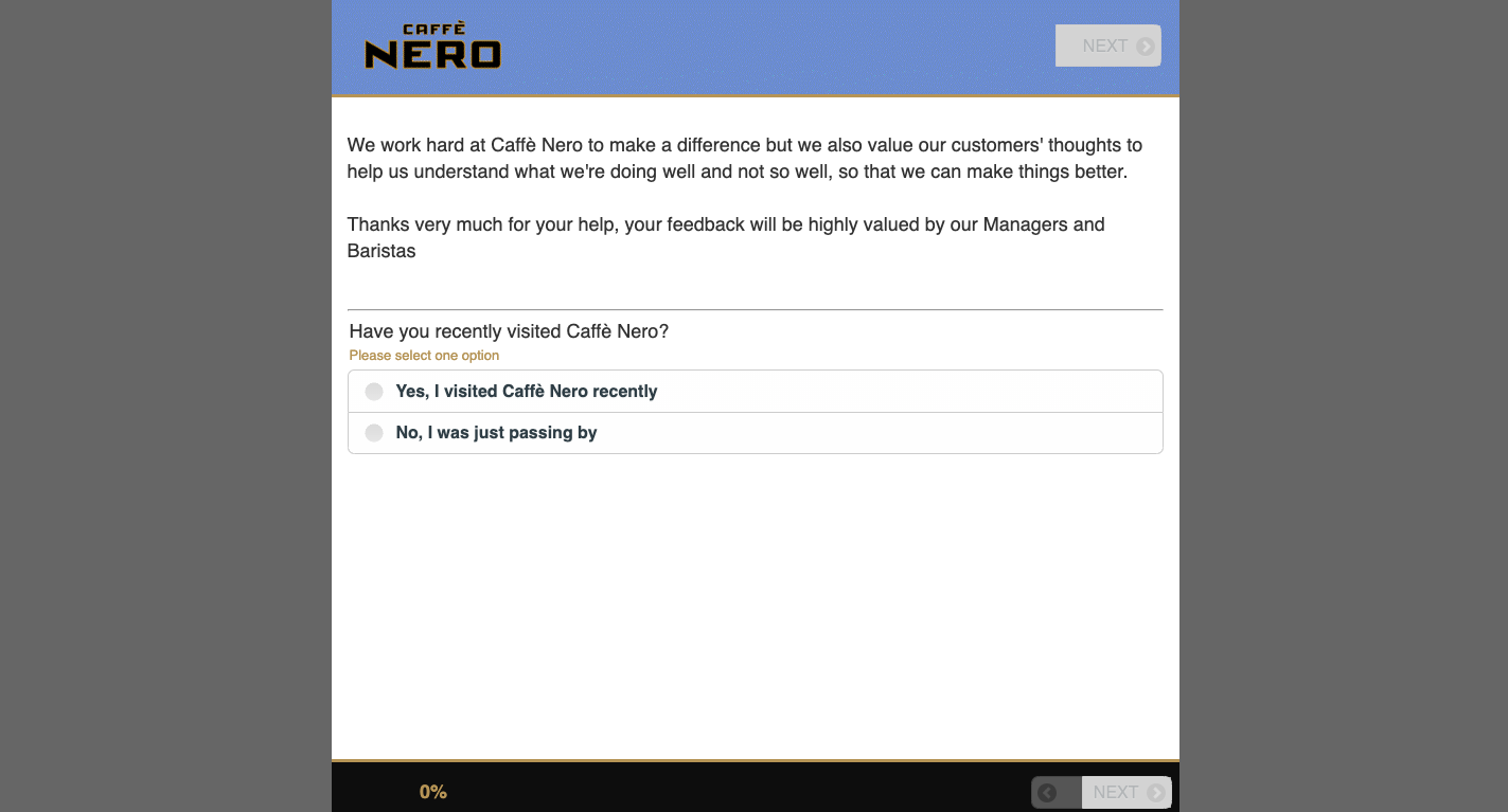 Caffe Nero Customer Satisfaction Survey