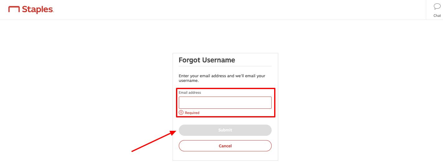 staples forgot username