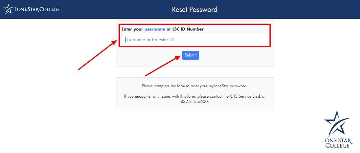 D2l Lonestar Reset Password