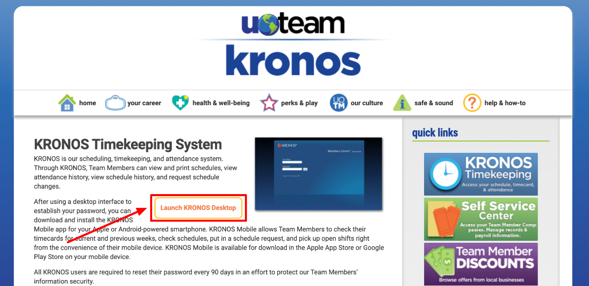 Kronos UO Team Account Login