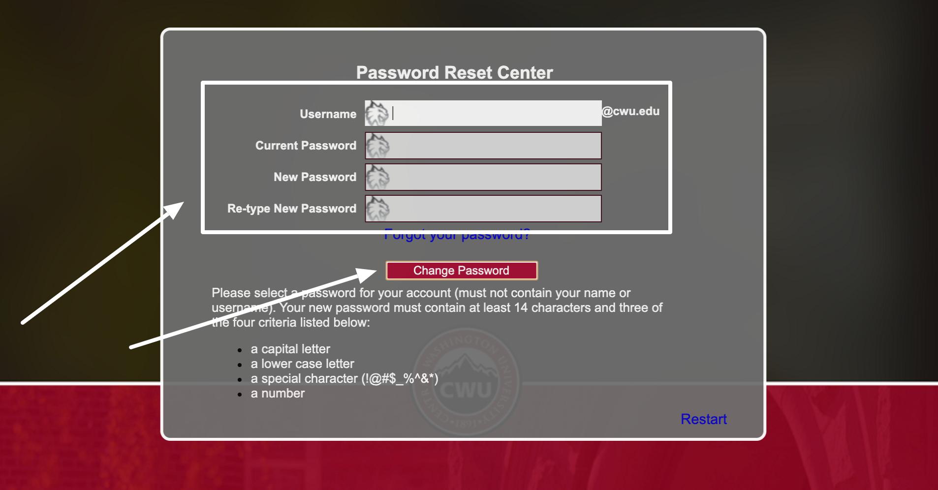 My CWU change password