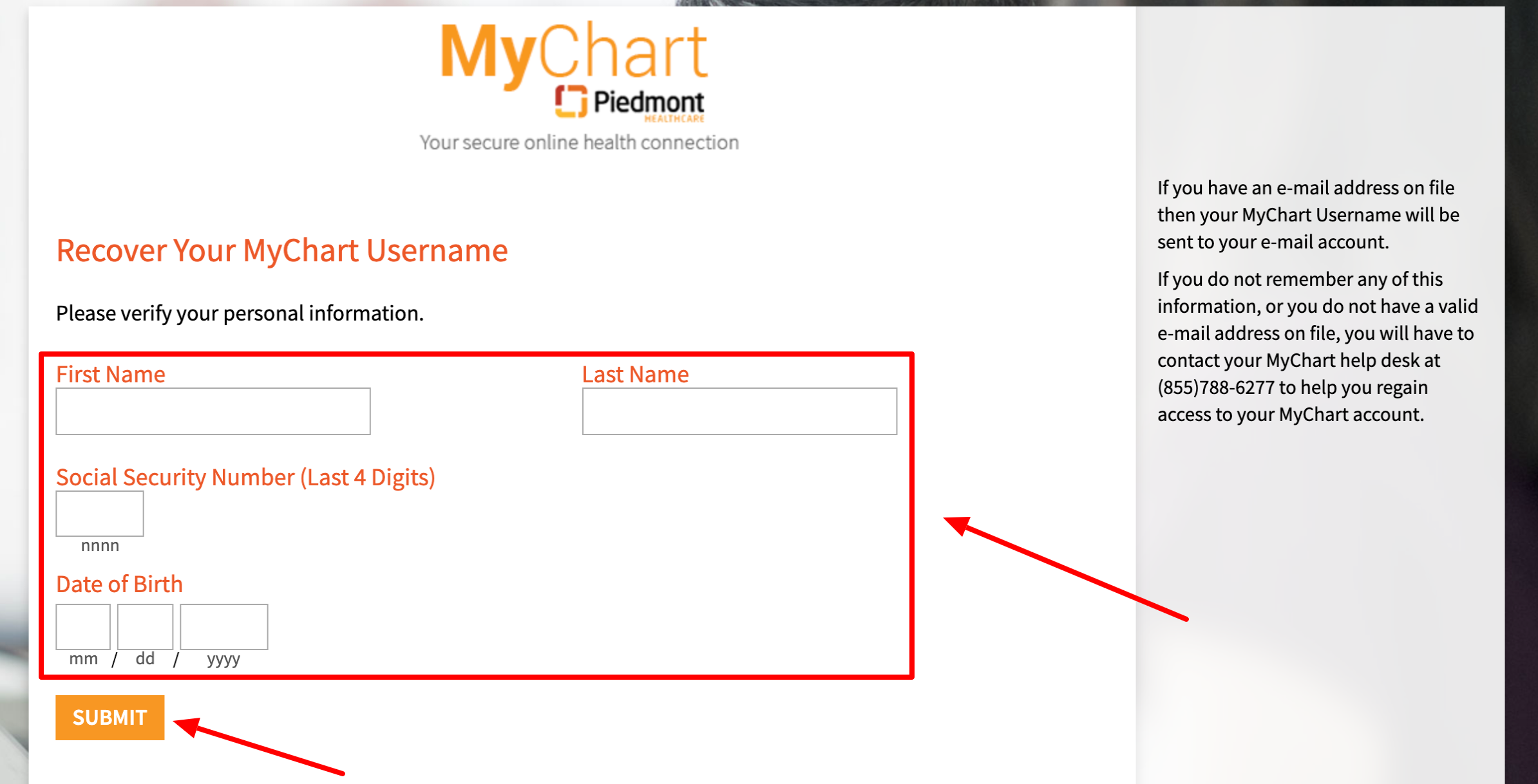 My Chart Piedmont forget username