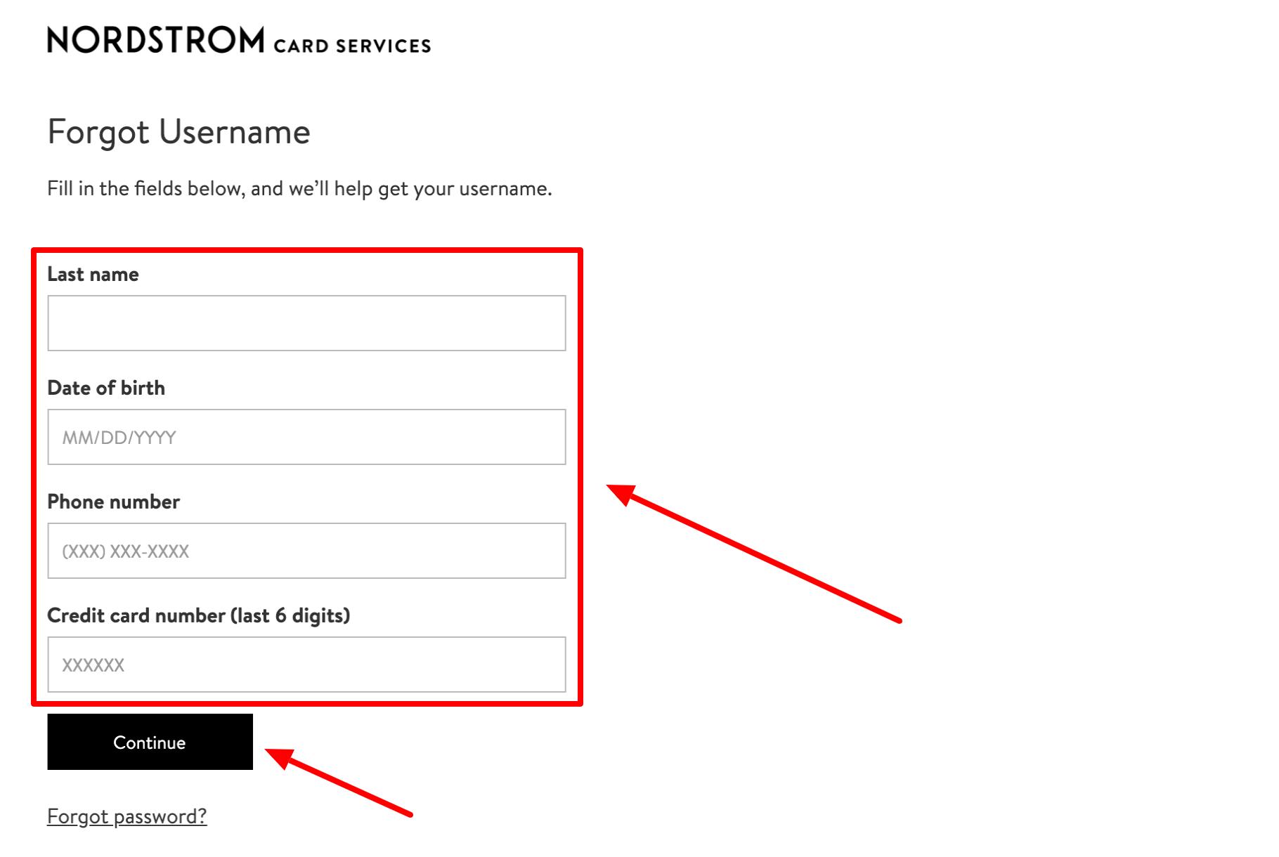 Nordstrom Card Services Forgot Username