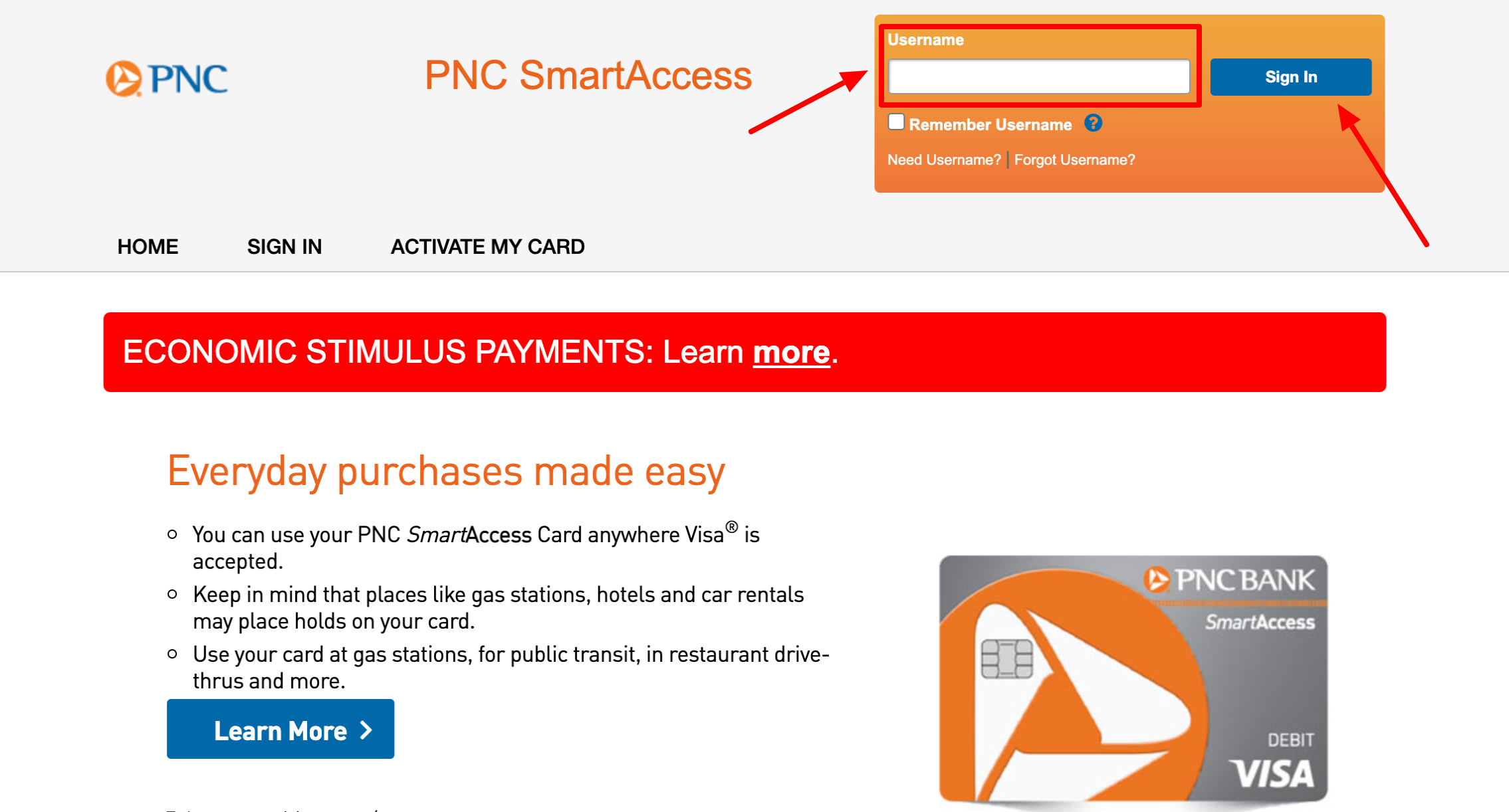 PNC Smart Access Card Login