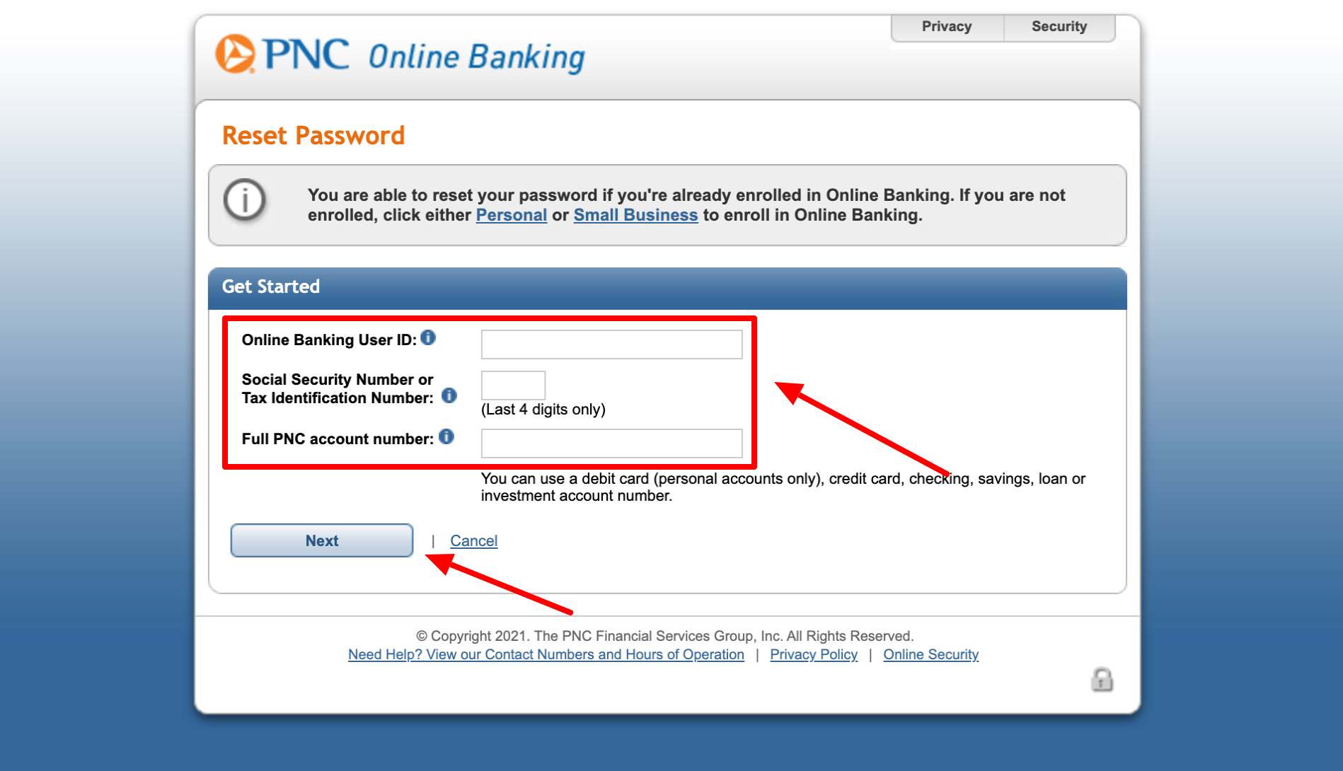 pnc online banking Reset Password