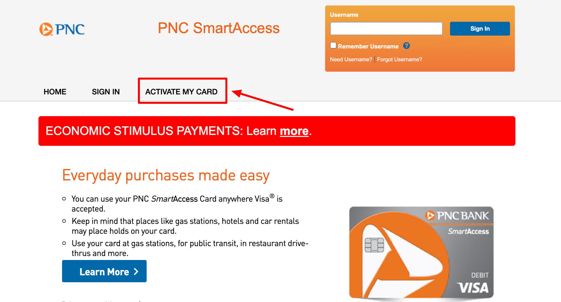 pnc smartaccess account activate card