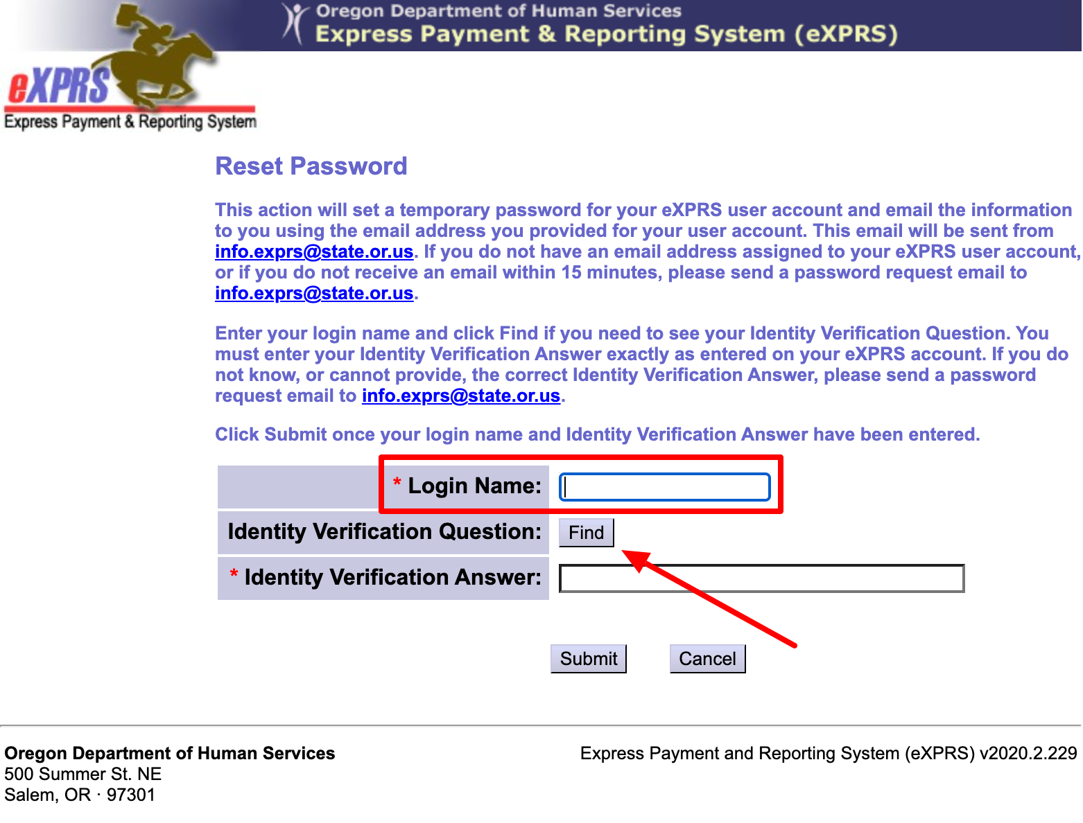 EVV Reset Password