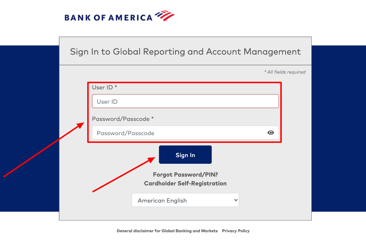 Global Reporting and Account Management Login
